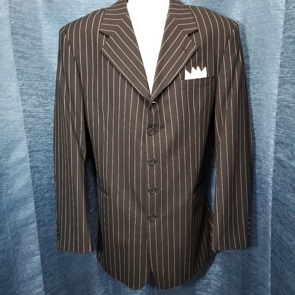706b99db Stacy Adams Black Striped Gangster Suit Coat 42L. M_5acd2cf63a112e6699860b09